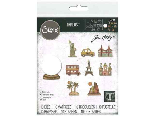 Sizzix Thinlits Tiny Travel #664182 10pk set Retail $12.99 Tim Holtz