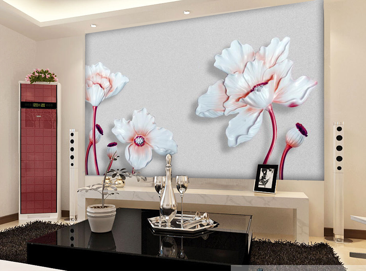 3D Weiß Lotus Carving 4890 Wall Paper Wall Print Decal Wall AJ WALLPAPER CA