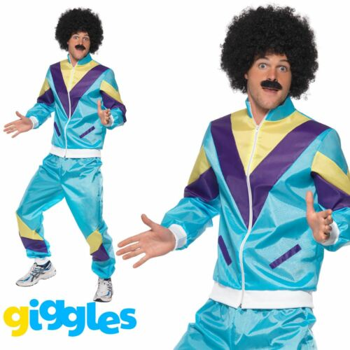 """Men Chest 38/""""-40/"""" Smiffys 80s Height of Fashion Shell Suit Costume Blue"""