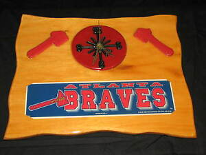 Atlanta Braves Wooden Handmade Clock Vintage Fan Man Cave Team Player Logo Red