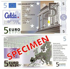France CELDA Billet 5 Euro SPECIMEN FACTICE UTILISATION