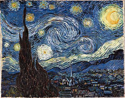 "Starry Night by Vincent Van Gogh, 8""x10"", Giclee Canvas Print"
