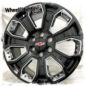 22 Inch Gloss Black Chrome Inserts Chevy Silverado 5660 Oe Replica Wheels 6x5 5 Ebay