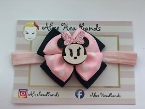 Disney-Minnie-Mouse-Baby-Headband-Girls-Disney-Bow-Elastic-Red-Or-Pink-Or-Clip
