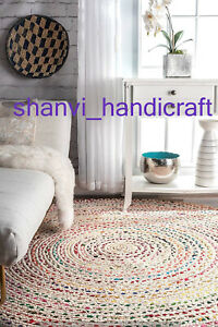 Multi-Colour-Round-Braided-Home-Living-Decor-Indian-Jute-amp-Cotton-Mat-Floor-Rugs