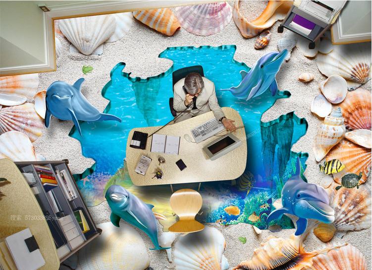 3D Dolphin Beach Shell 9 Floor WallPaper Murals Wall Print Decal AJ WALLPAPER US