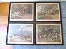 RARE SET 4 ANTIQUE HAND COLORED AQUATINT ETCHINGS FOX HUNT 1813 AFTER AIKEN