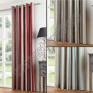STRIPED RING TOP LINED PAIR EYELET READY MADE CURTAINS RED BLACK - Ready made curtains red