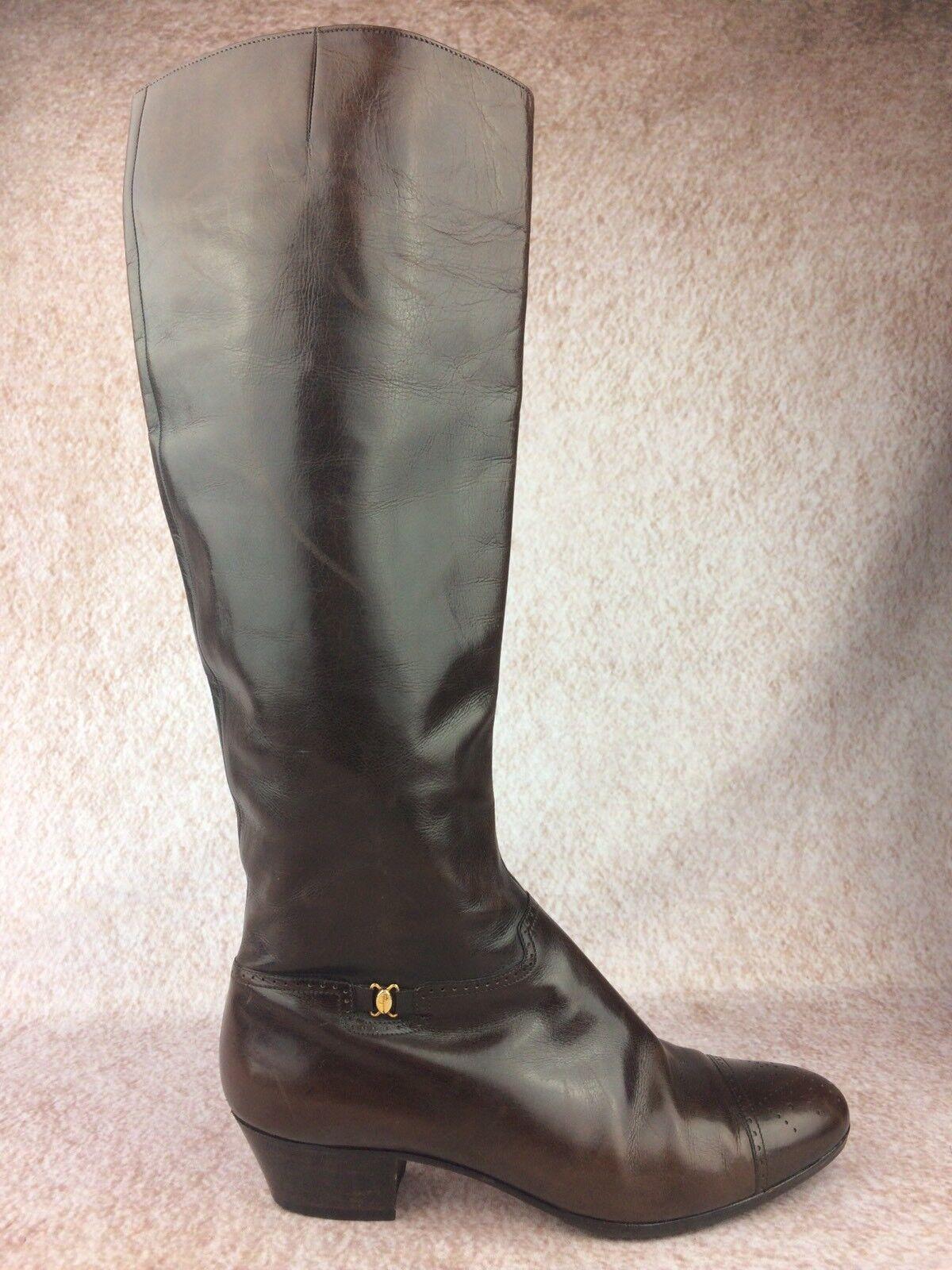 Salvatore Ferragamo Vintage Size 5.5  Brown Leather Zip High Riding Boots