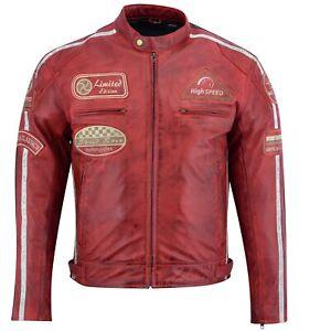 Herren-Motorrad-Lederjacke-Biker-Chopper-Rocker-Jacke-mit-Protektoren-Retro