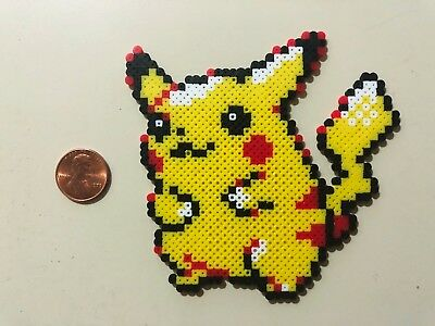 Pikachu in a cup pixel art magnet Hama perler beads Pikachu Pokemon fridge magnet whiteboard sprite office decor
