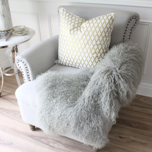 Light Grey Real Mongolian Fur Tibetan Sheepskin Lambskin Hide Pelt Throw