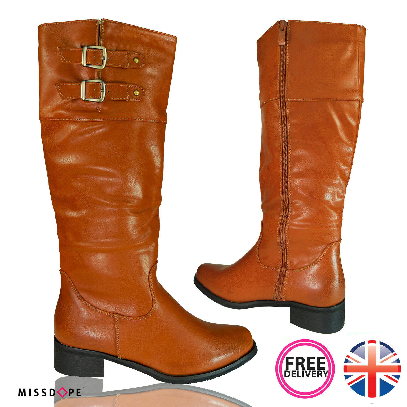 NEW BROWN BUCKLE LADIES CAMEL LOW HEEL BOOTS WINTER RIDING ZIP WOMENS COWBOY UK