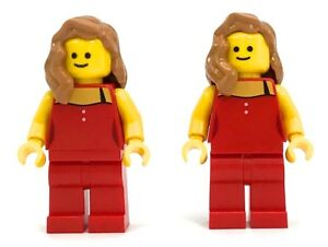 Lego-2-New-Minifigures-Lady-in-Red-From-Set-10246-Town-Girl-Figs