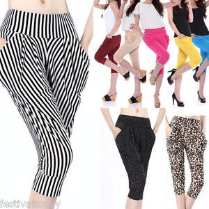Fashion-Women-Ladies-Summer-Casual-Harem-Baggy-Cropped-Fold-Loose-Pants-Leggings