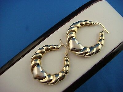 14K 2 TONE GOLD HEART TWIST DESIGN HOOP EARRINGS, 4.3 GRAMS, 31 MM x 38 MM