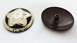 """Pr Antiqued Sierra Flower Hansen Western Gear Conchos Bridle Loop Backs 1 3//4/"""""""