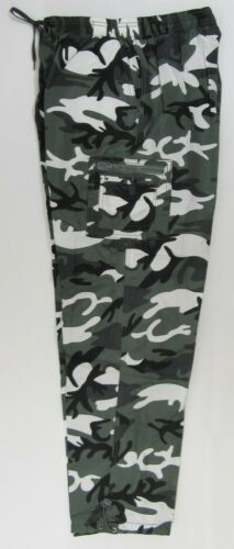 Mens Adults Camouflage Thermal Trousers Pants Elastic Waist Fleece Lined Camo S