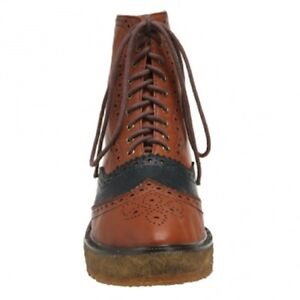 IRREGULAR-CHOICE-BROGUE-ANKLE-BOOTS-FLATS-CUTE-LEATHER-UK-6-VINTAGE-TAN-BLUE