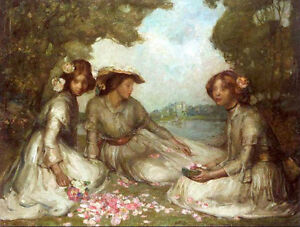 Oil painting Constance Rea impressionism young girls with spring flowers canvas