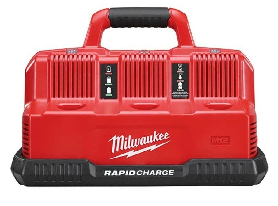 Milwaukee M12-M18 RAPID CHARGE STATION Charges Three Batteries, Carrying Handle