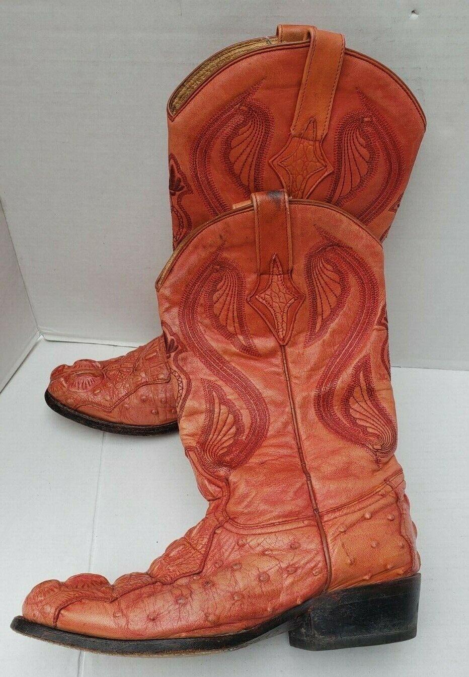 Quarter Horse Men Western orange Ranch Rodeo Boots Cowboy Crocodile 26.5 7.5