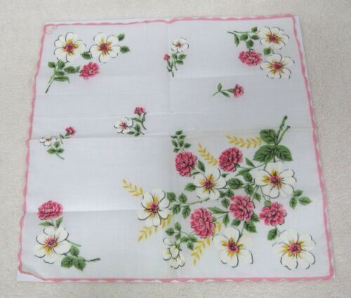 Vintage Hankie Apple Blossoms Pink Zinnias Pink Scalloped Edge 12""
