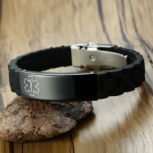 Medical Alert Men Silicone Bracelet Wristband Armband Engraved TYPE 2 DIABETES