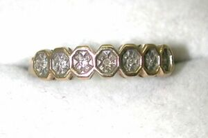 9-carat-Gold-And-Diamond-Half-Eternity-Style-Ring-Size-N