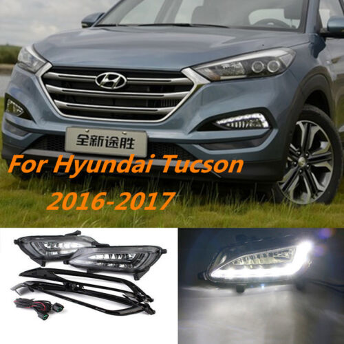 2x New LED Daytime Day Fog Lights For HYUNDAI TUCSON 2016 2017 DRL Run lamp