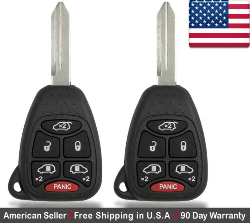 2x New Replacement Keyless Entry Remote Control Key Fob For Chrysler and Dodge