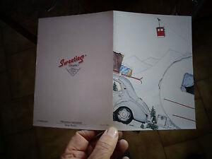 Ancienne-Carte-postale-double-Renault-4cv-Caravane-034-Oeuf-034-Sport-d-039-hiver-Camping