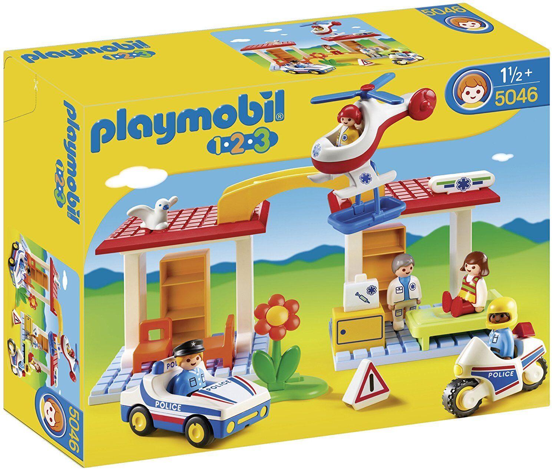 Playmobil - 1.2.3 - 5046 - Krankenhaus mit Sanitäter und Polizei-Set - NEU OVP