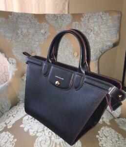 Details about 【NEW】LONGCHAMP Le Pliage Heritage-MEDIUM-Leather Satchel -  BLACK