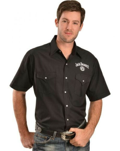 Jack Daniels Black Short Sleeve Western Cowboy Shirt Whiskey JD Official Product