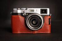 Genuine Real Leather Half Camera Case bag cover for FUJIFILM X100T