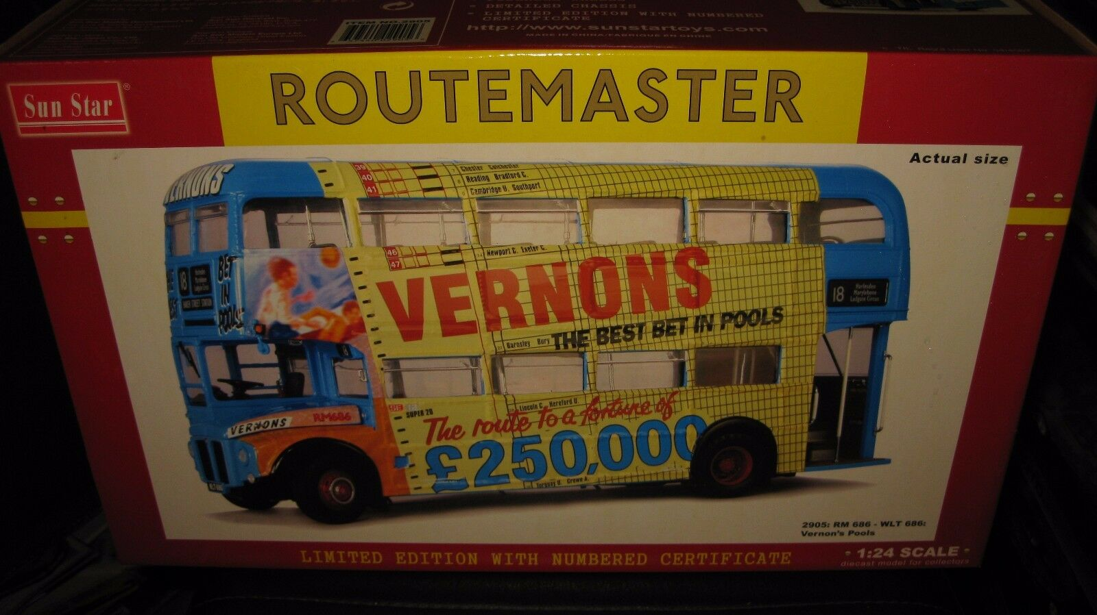autentico en linea 1.24 SUN Estrella ROUTERMASTER BUS VERON'S POOLS RM 686 686 686 WLT 686 DOUBLE DECKER  2905  ofreciendo 100%