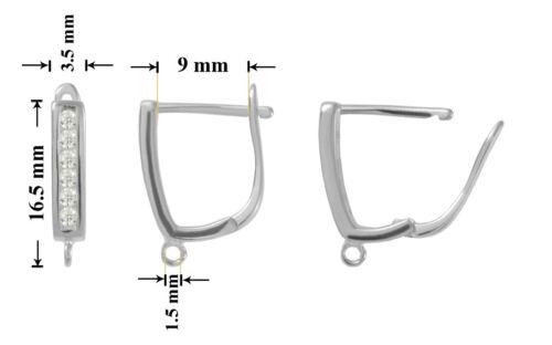Sterling Silver Earring Hooks Leverbacks 16.5x3.5mm Plated Earrings with CZ