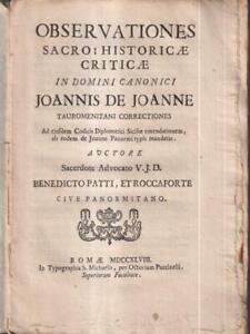 Observationes Heiliges Historicae Criticae IN Domini Religiöse Joannis De Joanne
