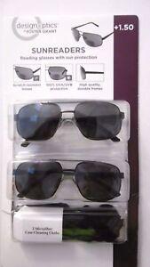 DESIGN-OPTICS-SUNREADERS-1-50-AVIATOR-READING-GLASSES-with-SUN-PROTECTION-B73-H