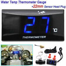 Blue Digital Motorcycle Water Temp Thermometer Gauge Meter22mm Sensor Head Plug