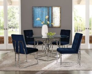 Image Is Loading Round Gl Chrome Metal Table Blue Velvet Chairs