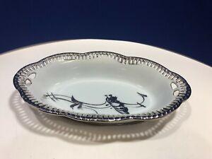 VTG Bavaria Schumann Reticulated Pierced Edge Oval Bowl Dish Porcelain & Silver