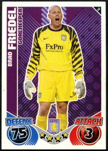 C602 Brad Friedel #19 Topps Match Attax 2010-11 Aston Villa Fútbol Tarjeta
