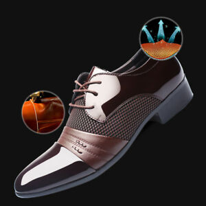 New-Business-Mens-Formal-Oxfords-Leather-Shoes-Dress-Flat-Lace-Up-Casual-Loafers