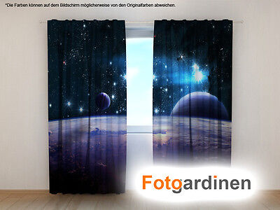 """Fotogardinen """"Space"""" Vorhang mit Motiv, 3D Fotodruck, Maßanfertigung"""