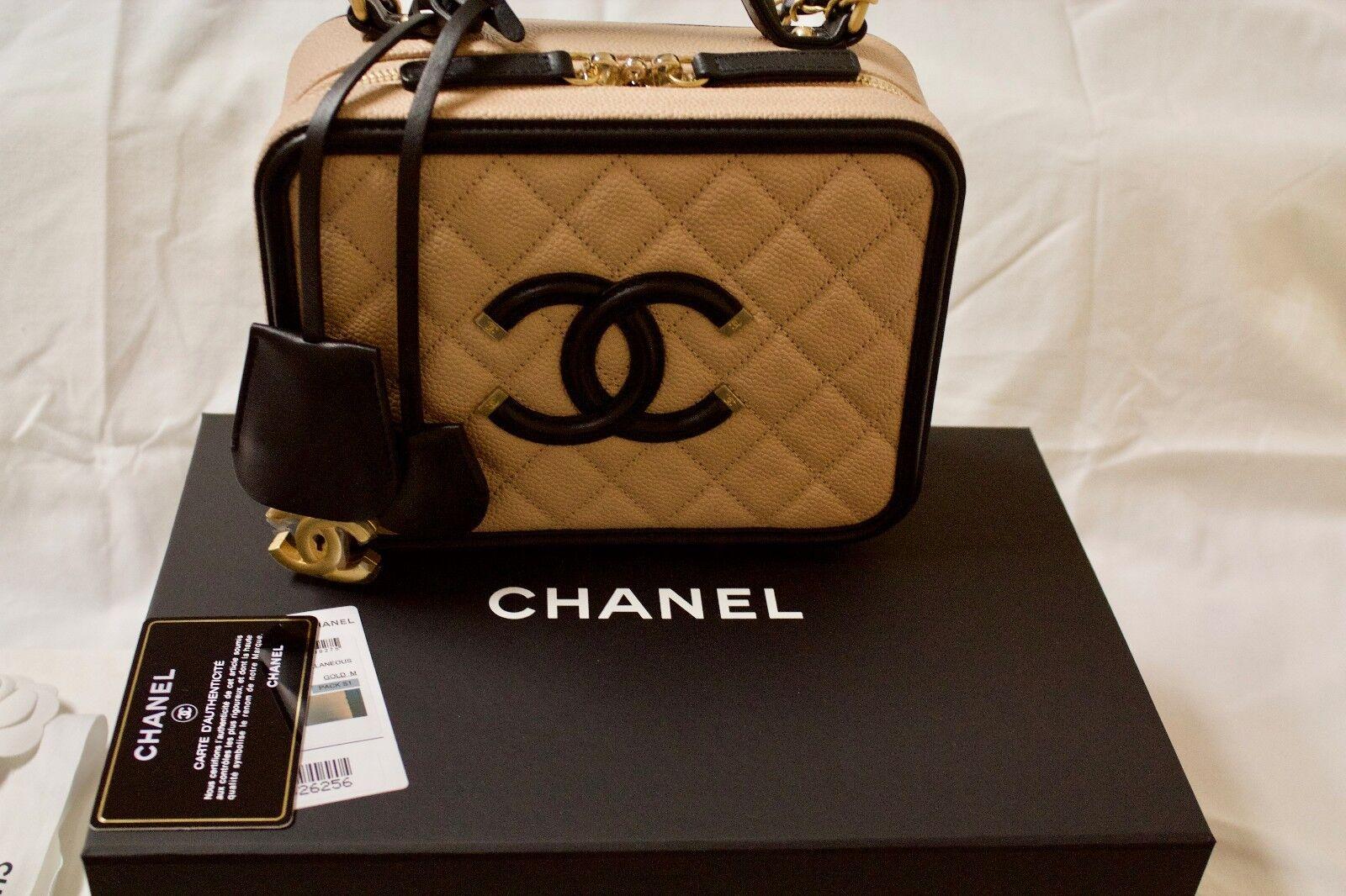 0d512bbfe386 CHANEL Filigree Vanity Beige Black Caviar Medium Bag Padlock 2 Keys - for  sale online