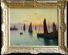 FERNAND LEGOUT GERARD (1856-1924) HUGE SIGNED FRENCH OIL SUNSET FISHING BOATS
