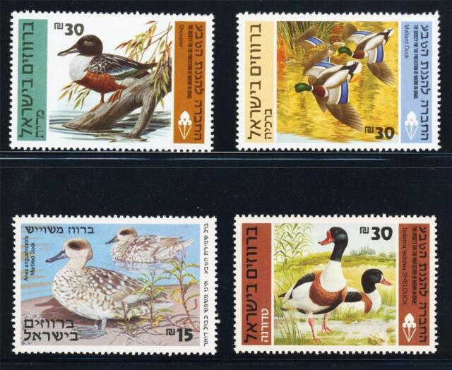 ISRAEL BIRDS DUCKS IN HOLYLAND SET OF 4 STAMPS FAUNA