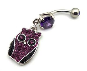 Dangle-Belly-Button-Ring-Owl-Charm-Purple-CZ-Gems-Surgical-Steel-316L-14g